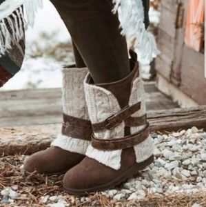 Removable Knit Cuff Buckle Boot